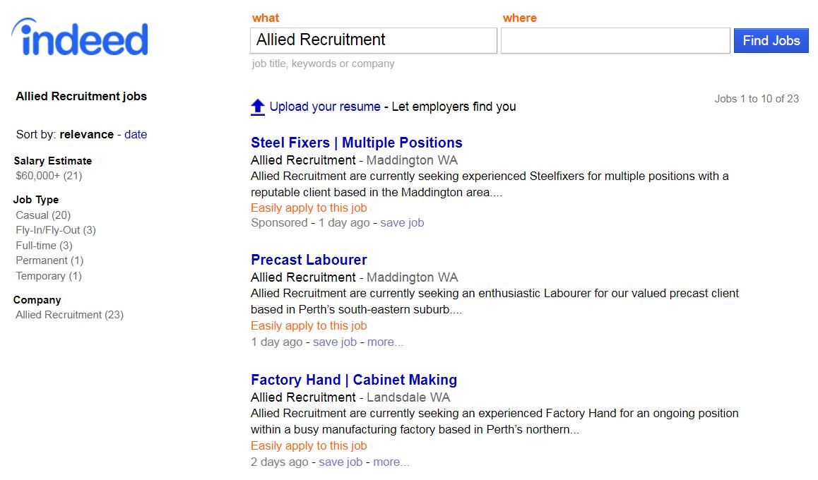 Current Allied Recruitment Vacancies